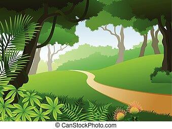 exotique, carte, forêt, fond