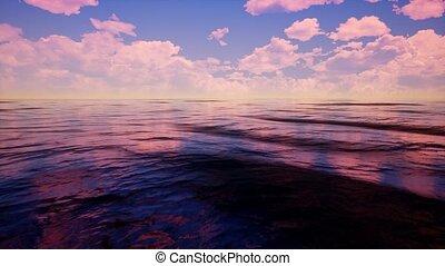 exotique, ciel clair, nuageux, océan