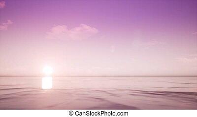 exotique, clair, océan coucher soleil