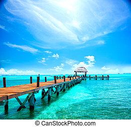 exotique, concept, mexico., resort., jetée, cancun, exotique, vacances, voyage, tourisme