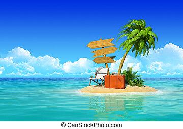 exotique, concept, signpost., bois, île, valise, trois, recours, travel., fetes, arbre, paume, vide, repos, chaise, désert, salon