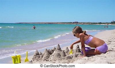 exotique, confection, plage sable, girl, château, peu, blanc