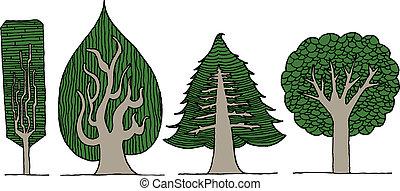 exotique, ensemble, arbre, main, vecteur, dessiné