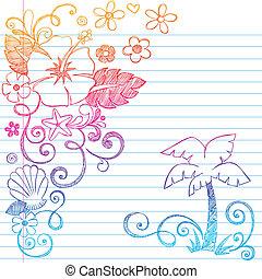 exotique, hibiscus, hand-drawn, fleur