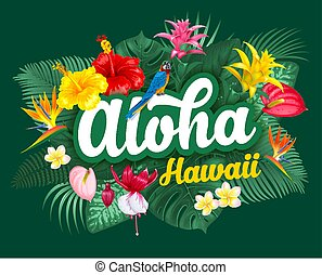 exotique, lettrage, usines, hawaï, aloha