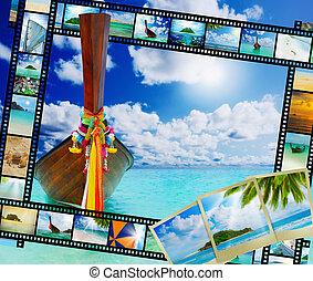 exotique, longtail, plage, bateau, mer
