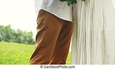 exotique, nouvellement marié, couple