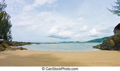 exotique, paisible, plage, day., ultrahd, vidéo, nuageux