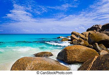 exotique, praslin, seychelles, plage, île