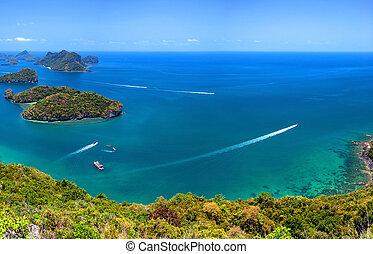 exotique, samui, ang, aérien, lanière, nature, île, parc national, ko, archipel, panoramique, mer, thaïlande, vue., marin