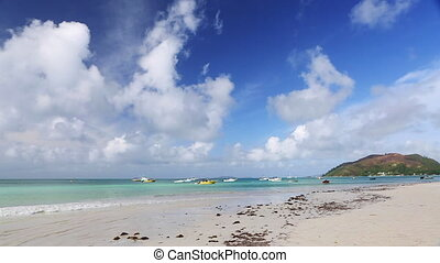 exotique, seychelles, plage, panorama