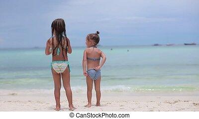 exotique, soeurs, peu, plage, deux