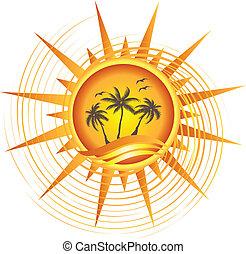 exotique, soleil, conception, or, logo