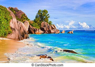exotique, source, seychelles, plage, d'argent