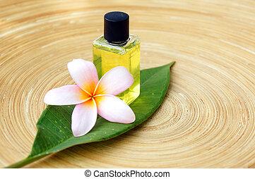 exotique, spa, masage, concept, huile