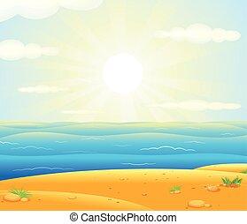 exotique, sur, plage, levers de soleil