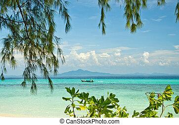 exotique, thaïlande, plage sable, mer