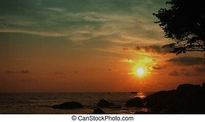 exotique, tranquille, coast., paysage, océan