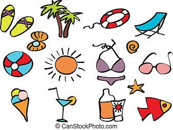 exotique, vacances, plage, icônes