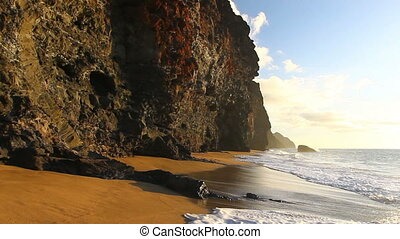 exotique, vagues, plage, océan, briser