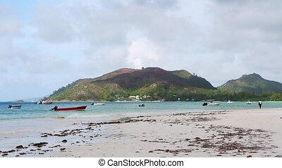 exotique, vue, seychelles, plage