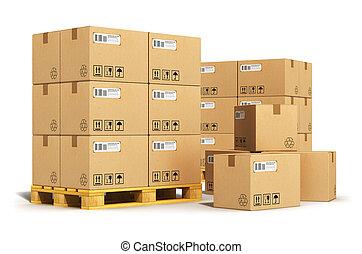 expédition, boîtes carton, palettes