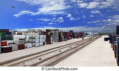 expédition, business, logistique, terre, transport, exportation, récipient, rail, dock, importation, fret, directions, usage, cargaison