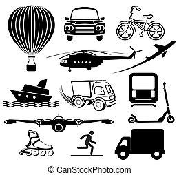 expédition, icônes, étiquettes