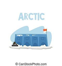 expédition polaire, arctique, illustration, vecteur, fond, station, blanc