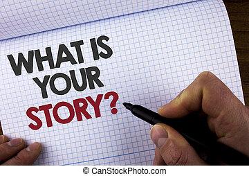 expériences, dire, business, quel, bois, personnel, art conter, photo, livre, écriture, tenue, marqueur, projection, écrit, histoire, note, ton, fond, showcasing, question., homme, passé, cahier