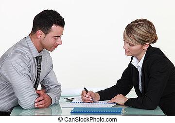 expliquer, femme, contrat, homme