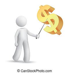expliquer, symbole, homme, dollar, 3d