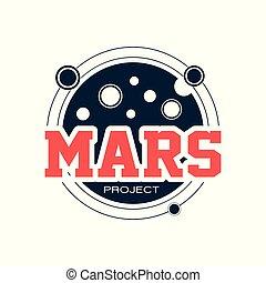 exploration, plat, project., emblème, scientifique, espace, planète, astronomique, ou, mars., original, aventure, vecteur, étiquette, impression, logo, inscription., autocollant, rouges, contour