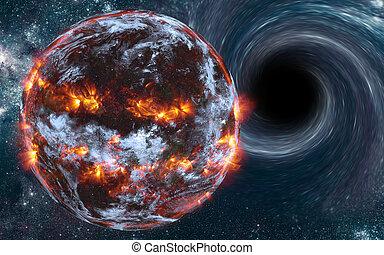 exploser, espace, planète, somewhere