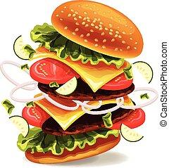 exploser, hamburger