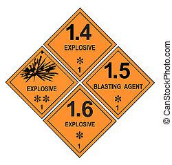 explosif, étiquettes, avertissement