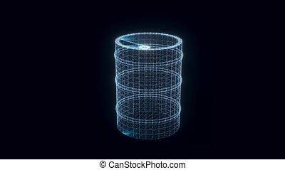 explosif, baril, tourner, hologramme