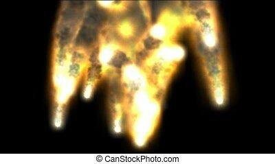 explosion, brûler, fumée