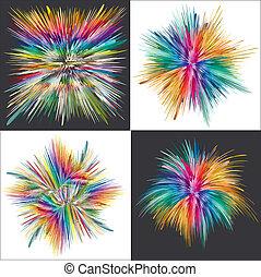 explosion, couleur, vecteur, art