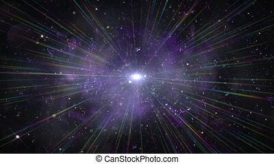 explosion légère, espace, étoile, rayon