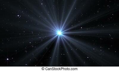 explosion, lumière, étoile, rayon, espace