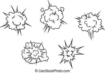 explosion, nuages, dessin animé