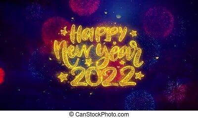explosion, texte, 2022, particles., heureux, souhait, ftirework, nouveau, coloré, année