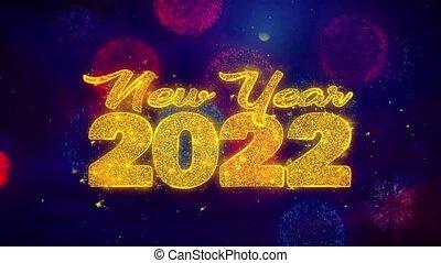 explosion, texte, 2022, particles., souhait, ftirework, nouveau, coloré, année