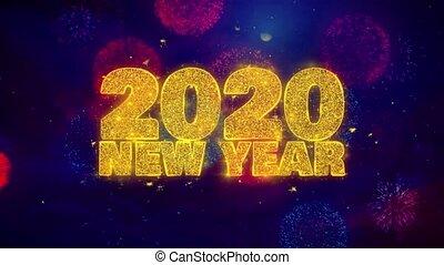 explosion, texte, particles., 2020, souhait, ftirework, nouveau, coloré, année