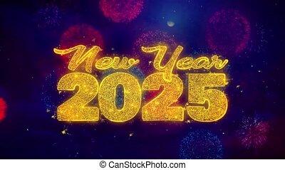 explosion, texte, particles., 2025, souhait, ftirework, nouveau, coloré, année