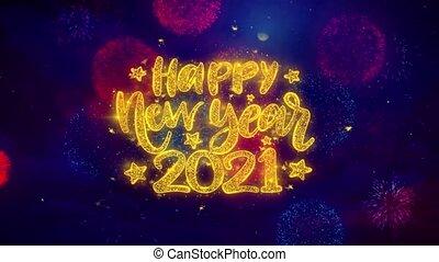 explosion, texte, particles., heureux, 2021, souhait, ftirework, nouveau, coloré, année