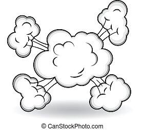 explosion, vecteur, comique, nuages