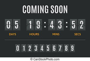 exposer, jours, heures, minutes, minuteur, timer., display., retro, compte rebours, dénombrement, illustration, compteur, vecteur, flipclock, ensemble, horloge, date, chiquenaude