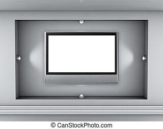 exposer, niche, projecteurs, tv, gris, lcd, intérieur, vide, 3d